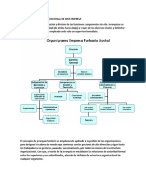 Estructura Organico Funcional De Una Empresa Pdf