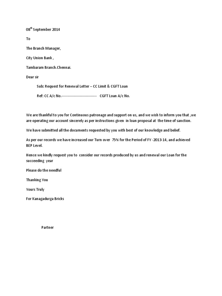 sample letter for bank guarantee renewal