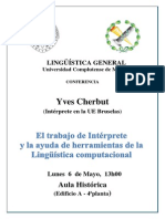Conferencia Yves Cherbut 6 Mayo 2013