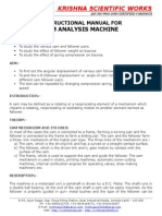 Manual for Cam Analysis Machine