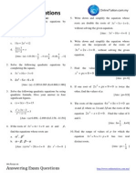 Spm Practice Add Maths Quadratic Equations