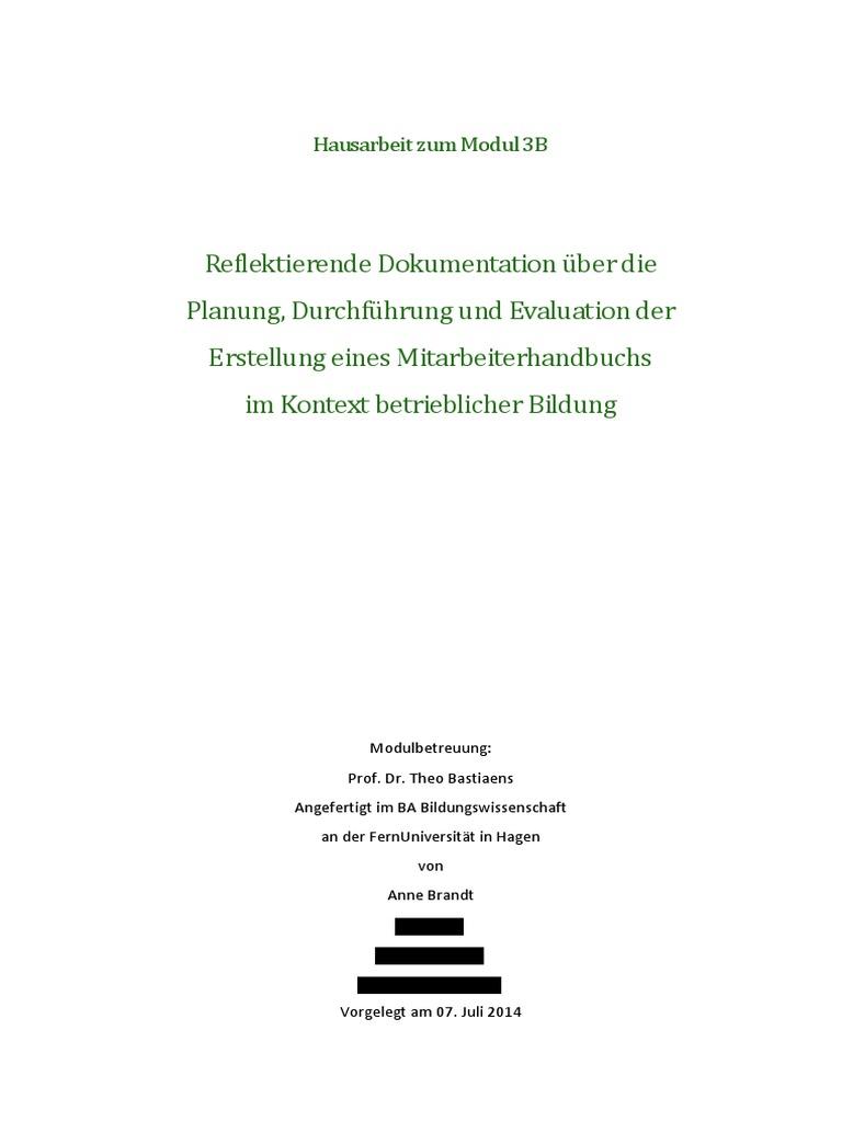 Anne Brandt: Reflektierende Dokumentation über die Planung ...