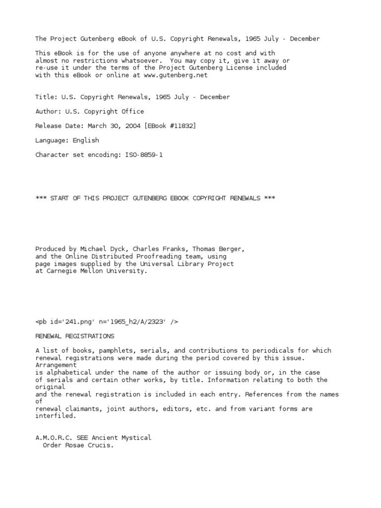 U.S. Copyright Renewals, 1965 July - December by U.S. Copyright ...