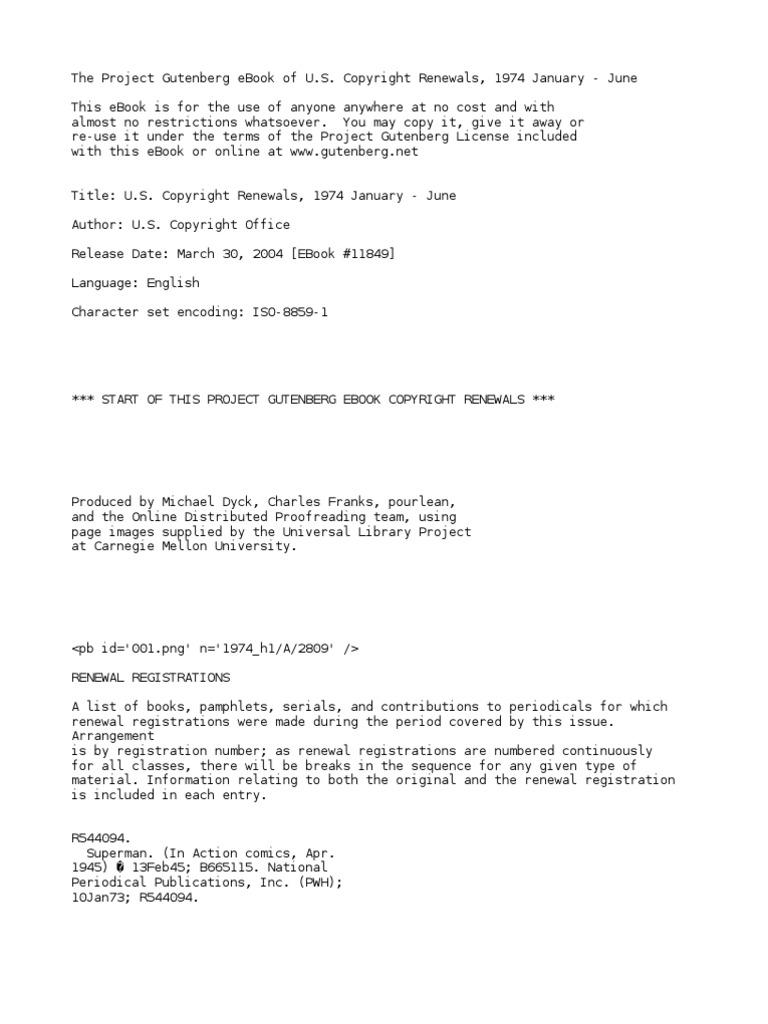 U S  Copyright Renewals, 1974 January - June by U S