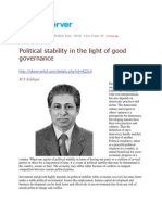 Political Stability in the Light of Good Governance