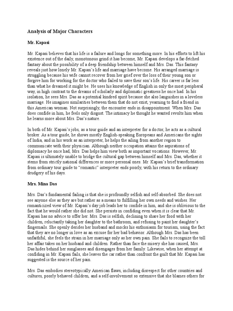 Interpreter of maladies analysis essay