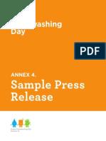 Sample Global Handwashing Day Press Release
