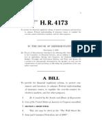 Financial Services Regulatory Overhaul Bill of 2009