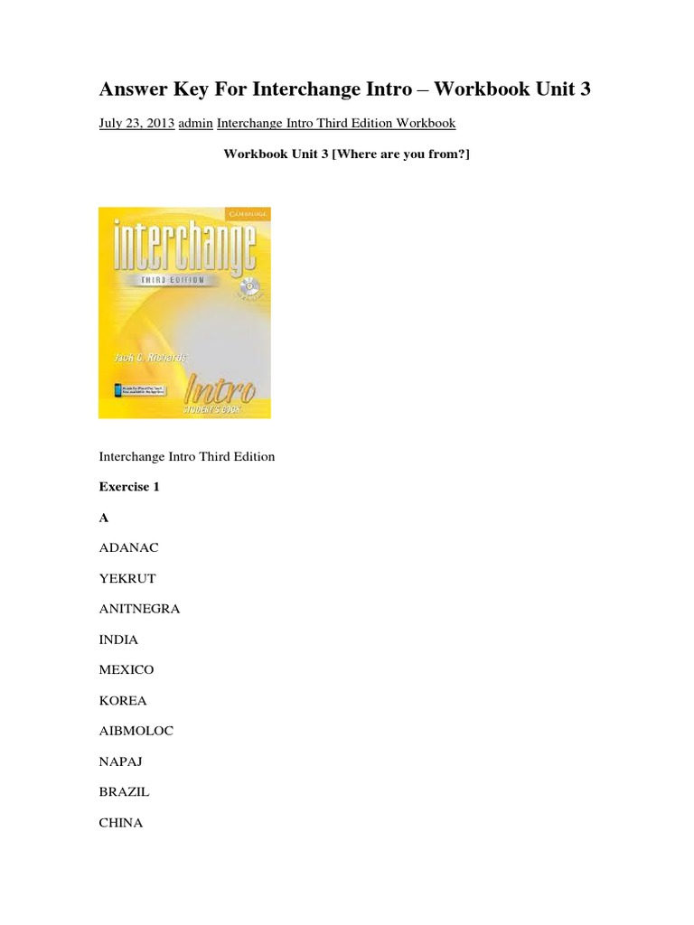 interchange fourth edition workbook answers