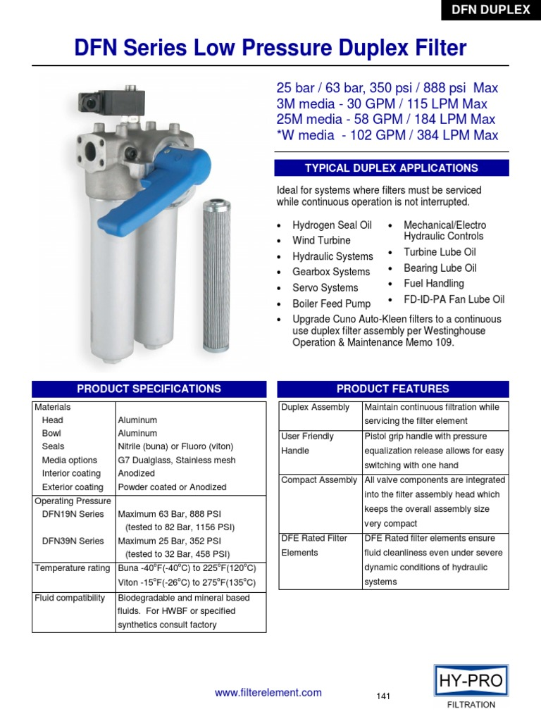 Dfn Series Low Pressure Duplex Filterpdf Filtration Switch Fuel Filter Mann Hummel