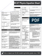 MCAT Prep Physics Equation Sheet