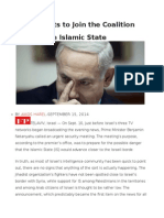 Israel Wants to Join the Coalition Against the Islamic State