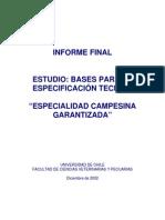 Estudio Bases Para La Especificacion Tecnica Especialidad Campesina Garantizada