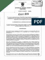 Decreto 1484 Del 6 de Agosto de 2014