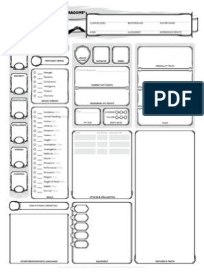 image regarding Printable Dnd Character Sheet referred to as Dungeons Dragons - 5th variation - Persona Sheet (3 webpages)