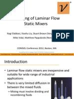 Modeling of Laminar Flow Static Mixers COMOL