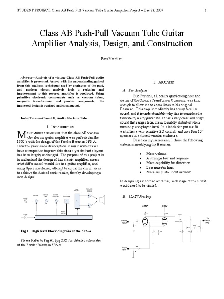 Class Ab Push Pull Vacuum Tube Guitar Amplifier Analysis Design Audio Block Diagram And Construction