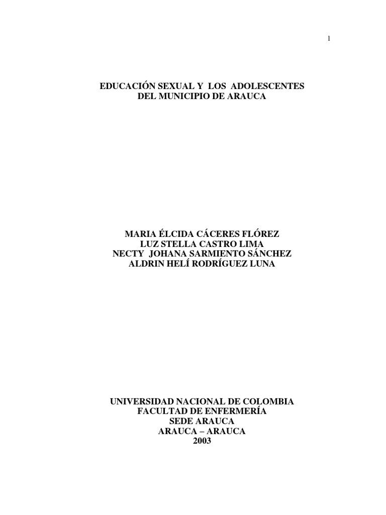 Educación Sexual y Los Adolescentes Del Municipio de Arauca