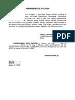 Sample Verified Declaration