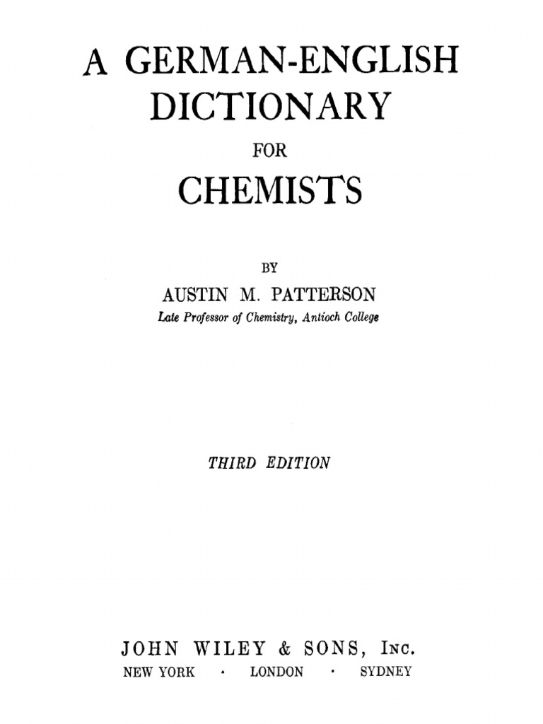 German-English Dictionary for Chemists 3ed - Patterson | Verb ...