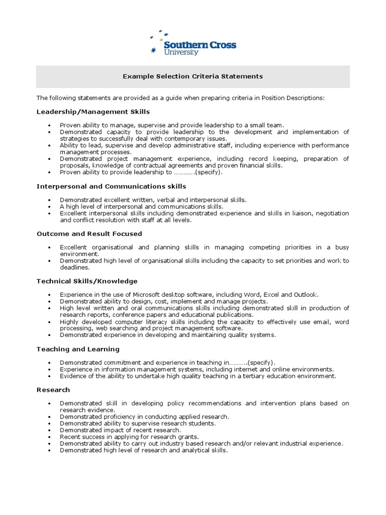 administration selection criteria