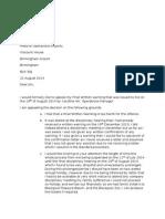 Mr Jim Walker Appeal Letter