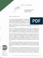 Lettre de MG Dufay à P. Gonon