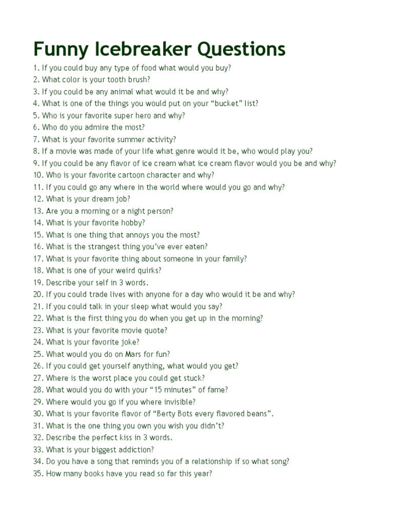 Exceptional 100 Funny Questions   Leisure