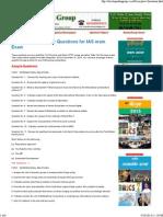 Expected Descriptive Questions for IAS Main Exam