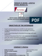 internship at ARVIND APPARELS