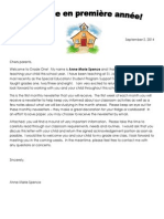 introductory letter - grade one