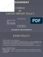 change in exim policy