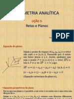 Geometria Analítica - Lição 3 - Retas e Planos
