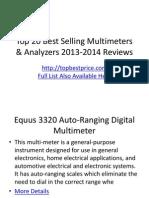 Top 20 Best Selling Multimeters & Analyzers 2013-2014 Reviews