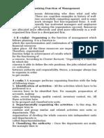 Organizing Function of Management