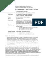 Syllabus for MASC 101-002 Fall 2014