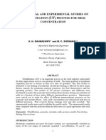 THEORETICAL AND EXPERIMENTAL STUDIES ON ULTRAFILTRATION (UF) PROCESS FOR MILK CONCENTRATION