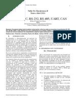 Protocolos i2c, Rs-232, Rs-485, Uart, Can