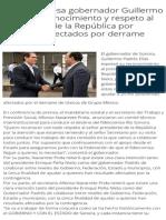 15-09-2014 Expresa gobernador Guillermo Padrés reconocimiento y respeto al presidente de la República por atender a afectados por derrame tóxico.