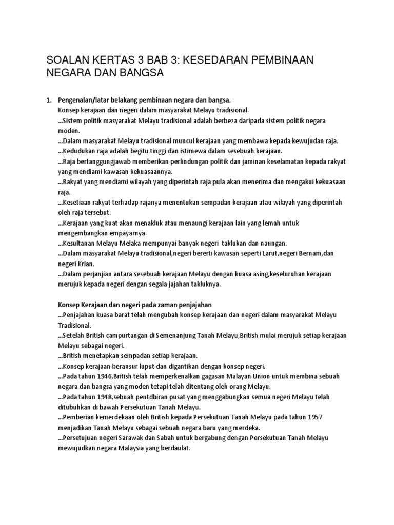 Soalan 11 1 Kertas 3 Bab 3 Kesedaran Pembinaan Negara Dan Bangsa