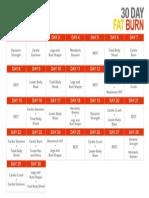 30 Day Fat Burn Workout Calendar