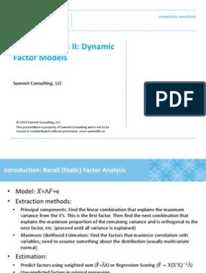 Factor Analysis II Dynamic Factor Models | Factor Analysis