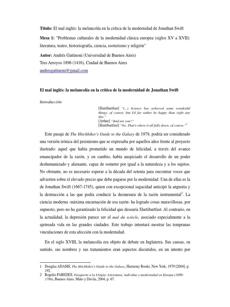 Gattinoni Melancolia Critica Modrrnidad
