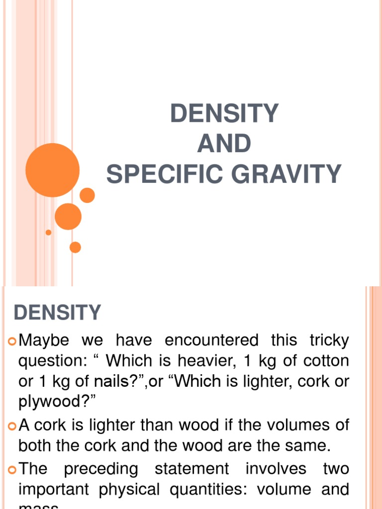 Density and Specific Gravity | Density | Pressure Measurement