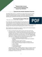 Medford Public Schools Professional Development Plan 2014-2015