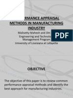 Performance Appraisal Methods in Manufacturing Industry