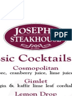 Joseph's Steakhouse - Cocktail Menu