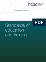 HCPC - Standards of Education and Training