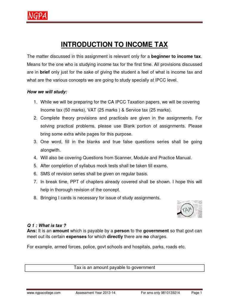 Introduction to Income Tax - Neeraj Gupta CA Ipcc Tax Classes ...  [20ebooks.com] (2) | Income Tax In India | Capital Gains Tax