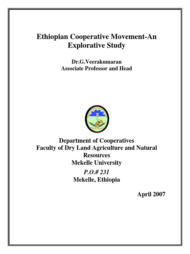 Ethiopian Cooperative Movement by G veerakumaran